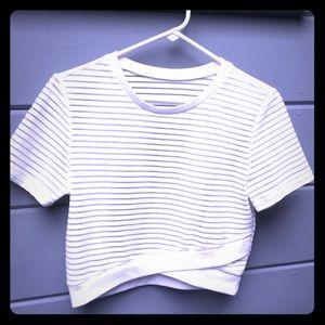 White crop top, seethru ribbing striped elastic!